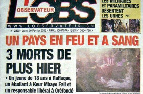 Article : La presse dakaroise déplore la violence