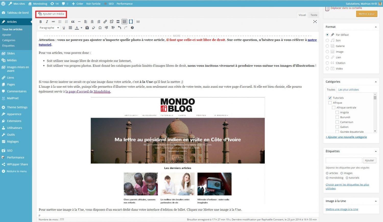 tutoriel mondoblog inserer une image