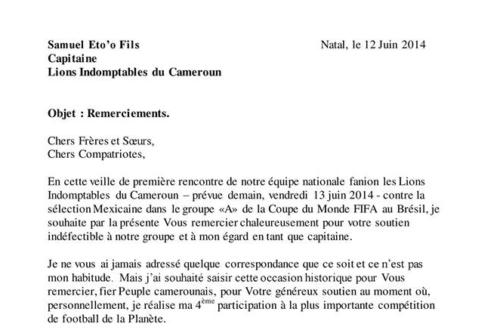 Article : Quand Samuel Eto'o écrit aux Camerounais pour les rassurer