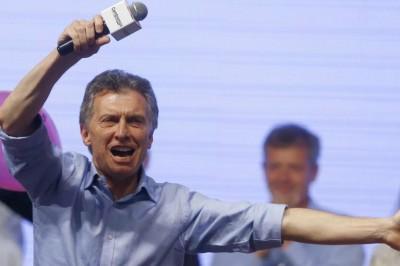 Mauricio Macri célèbre sa victoire après l'élection présidentielle, dimanche 22 novembre 2015, à Buenos Aires