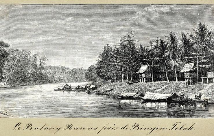 Vue d'un village austronésien