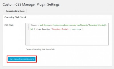 Custom CSS Manager - Appliquer le code