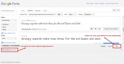 Google Fonts - Afficher le code d'importation