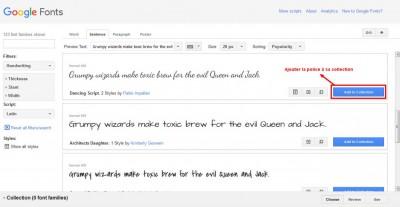Google Fonts - Ajouter une police à sa collection