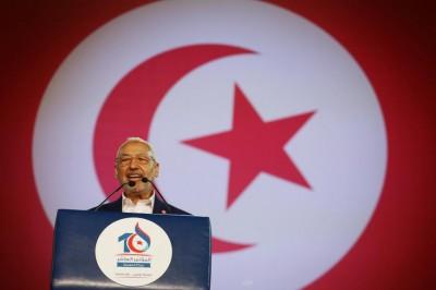 Le leader d'Ennahda Rached Ghannouchi lors d'un discours au Xe congrès de son parti.