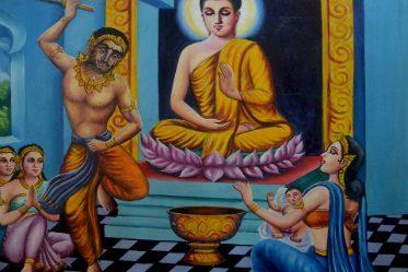 Scène de vie peinte Buddha et femme Thaïlandaise