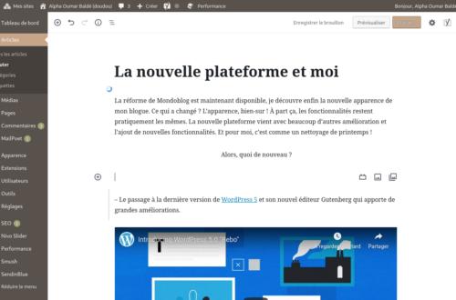 Article : La nouvelle plateforme et moi