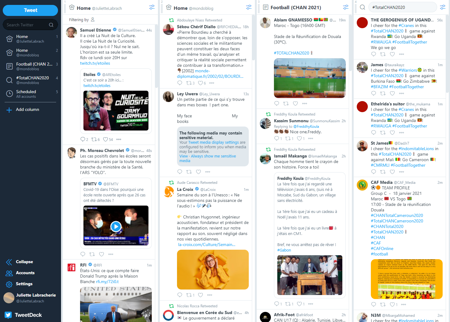 Tweetdeck est une application permettant de gérer un ou plusieurs comptes Twitter.